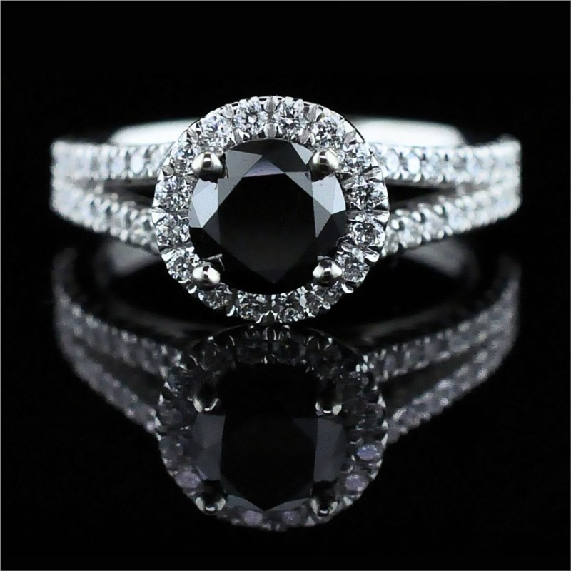 14K White Gold And Black Diamond Engagement Ring by Gabriel & Co
