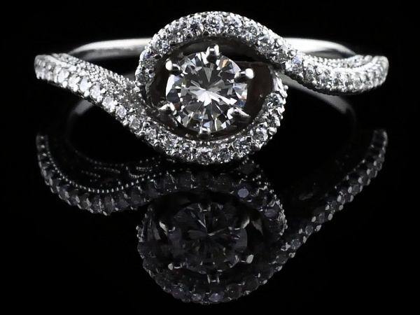 Bypass Style Diamond Engagement Ring by True Romance