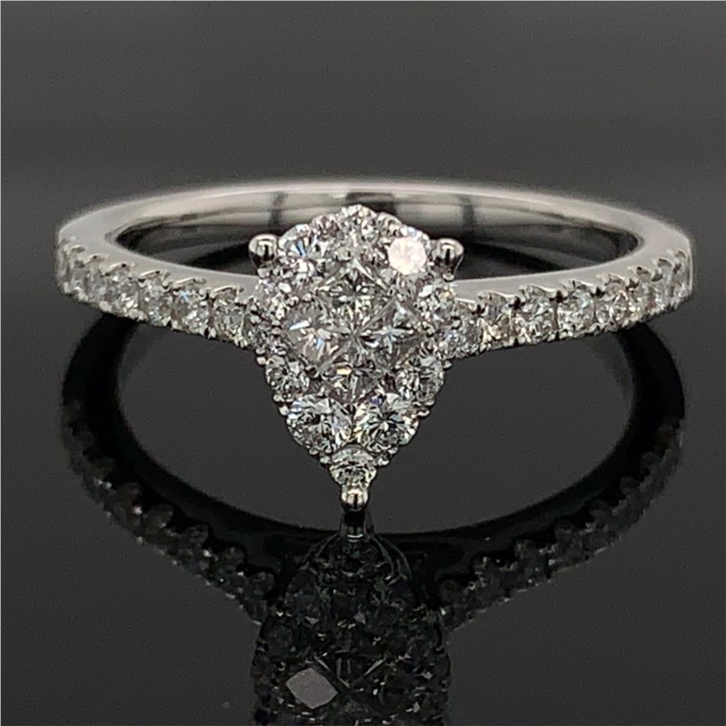 18K Pear Shape Diamond Cluster Engagement Ring by Signature Bridal Collection