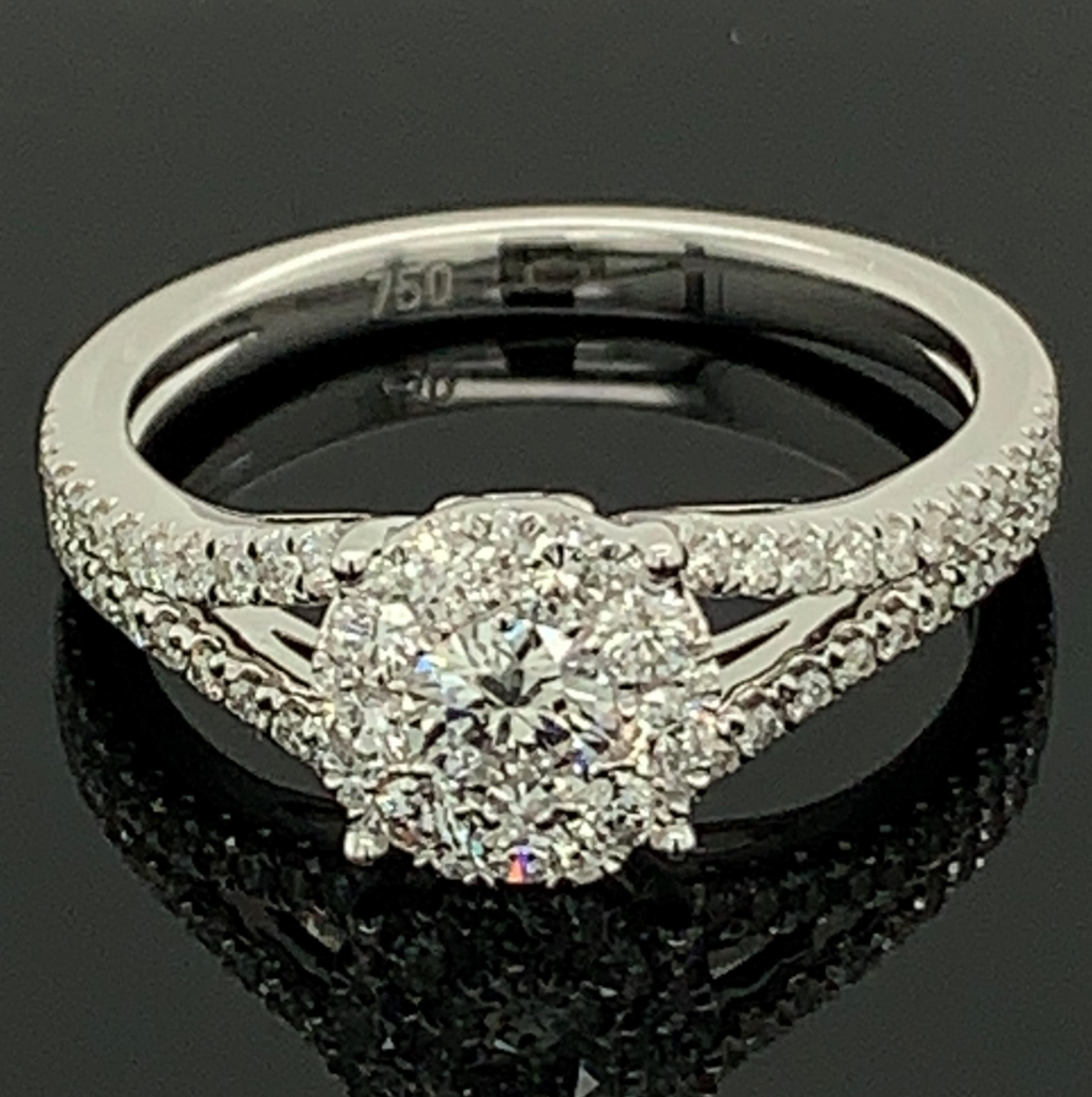 18K White Gold Diamond Cluster Engagement Ring by Signature Bridal Collection