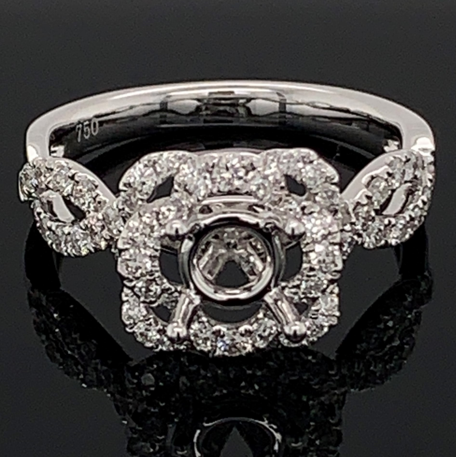 18K White Gold and Diamond Semi Mount Engagement Ring by Signature Bridal Collection