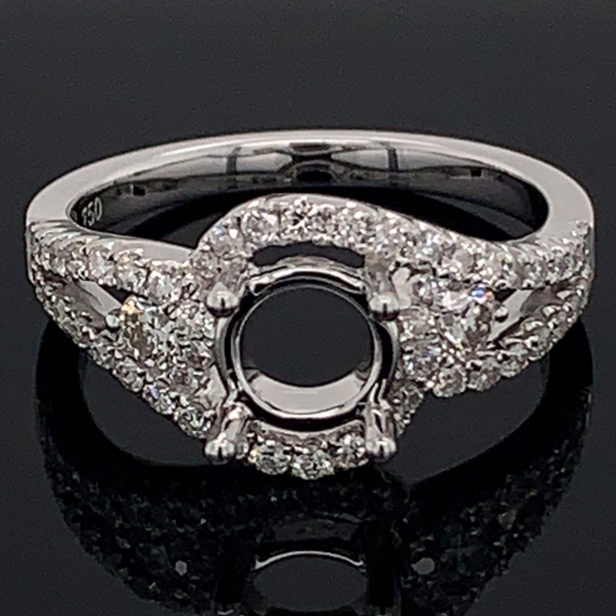18K White Gold Diamond Semi Mount Ring by Signature Bridal Collection