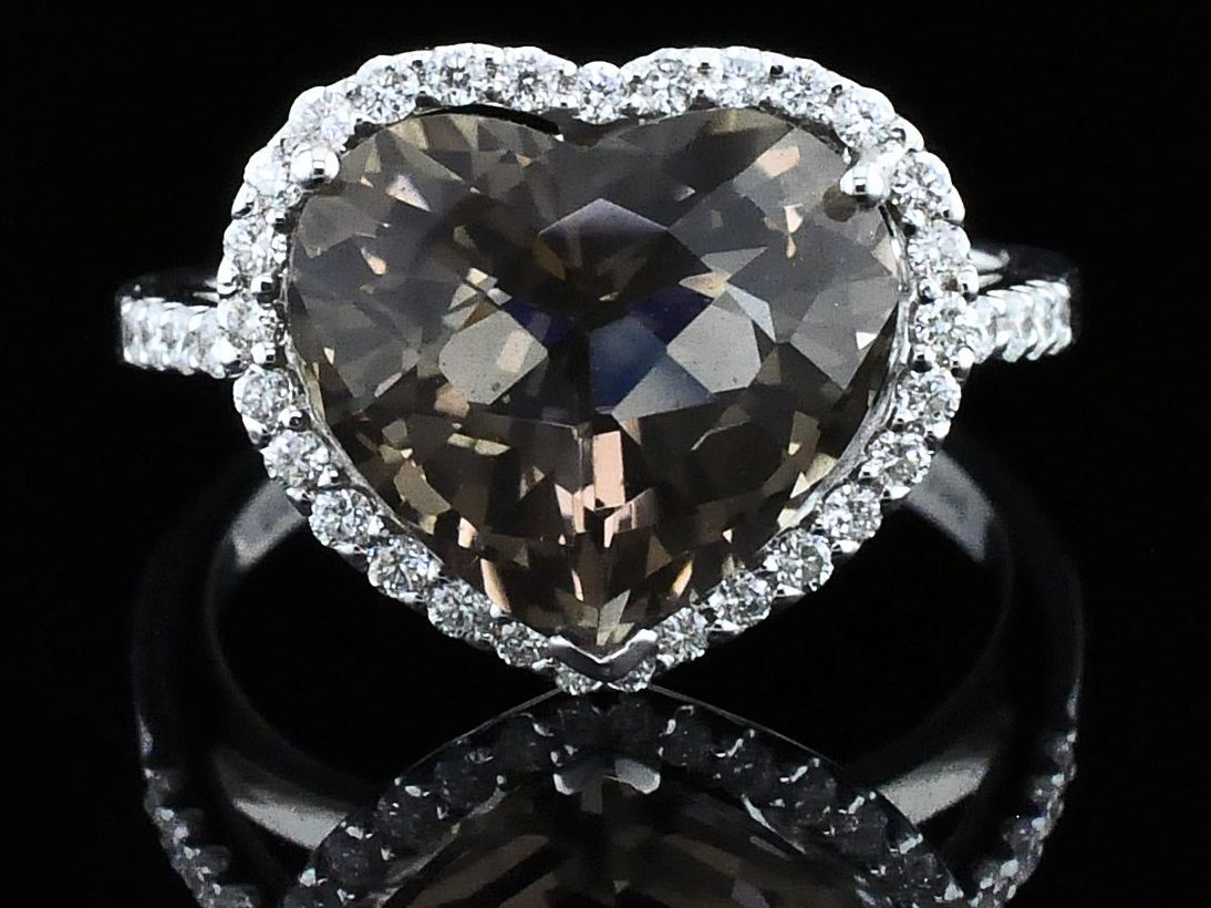 Alisa Unger Designs Heart Shape Smokey Quartz and Diamond Ring by Alisa Unger