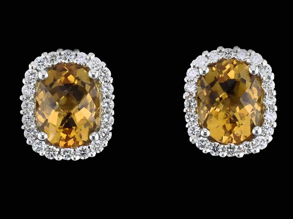 Alisa Unger Designs Citrine and Diamond Earrings by Alisa Unger