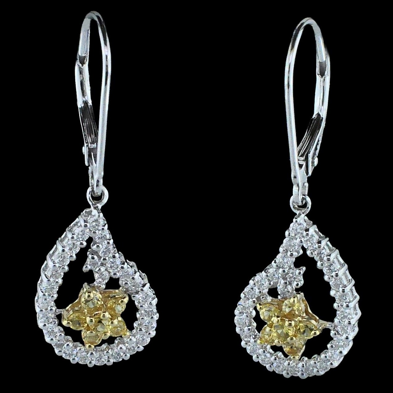 Alisa Unger Designs Yellow Sapphire and Diamond Earrings by Alisa Unger