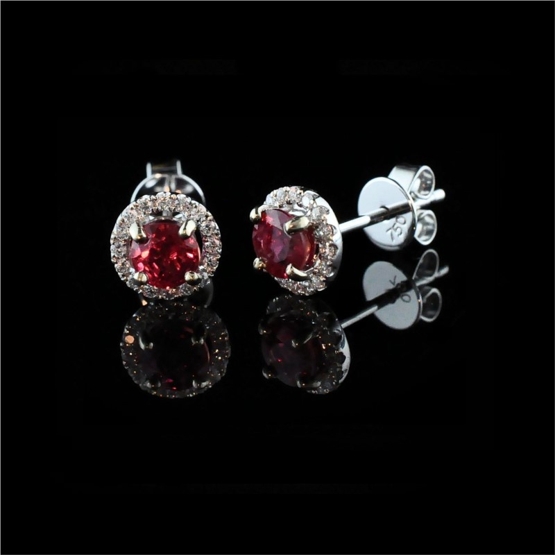 "18K White Gold ""Fire Ruby"" And Diamond Earrings by Fire 🔥 Ruby"