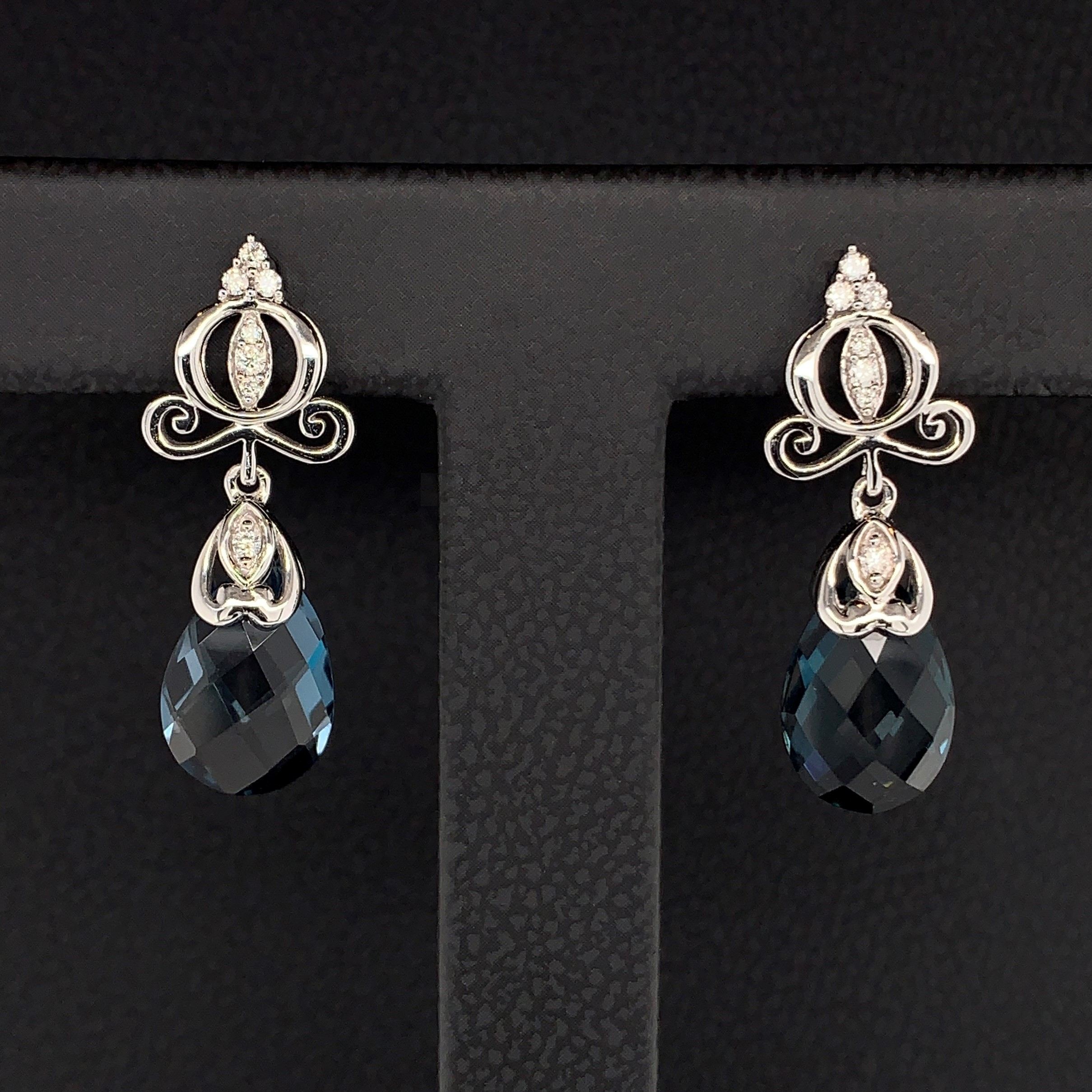 "Enchanted Disney ""Cinderella"" Blue Topaz and Diamond Carriage Earrings by Enchanted Disney"