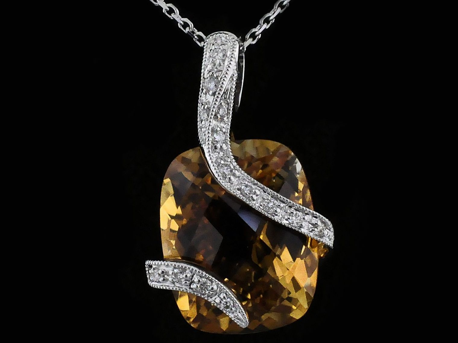 Alisa Unger Designs Citrine and Diamond Pendant by Alisa Unger