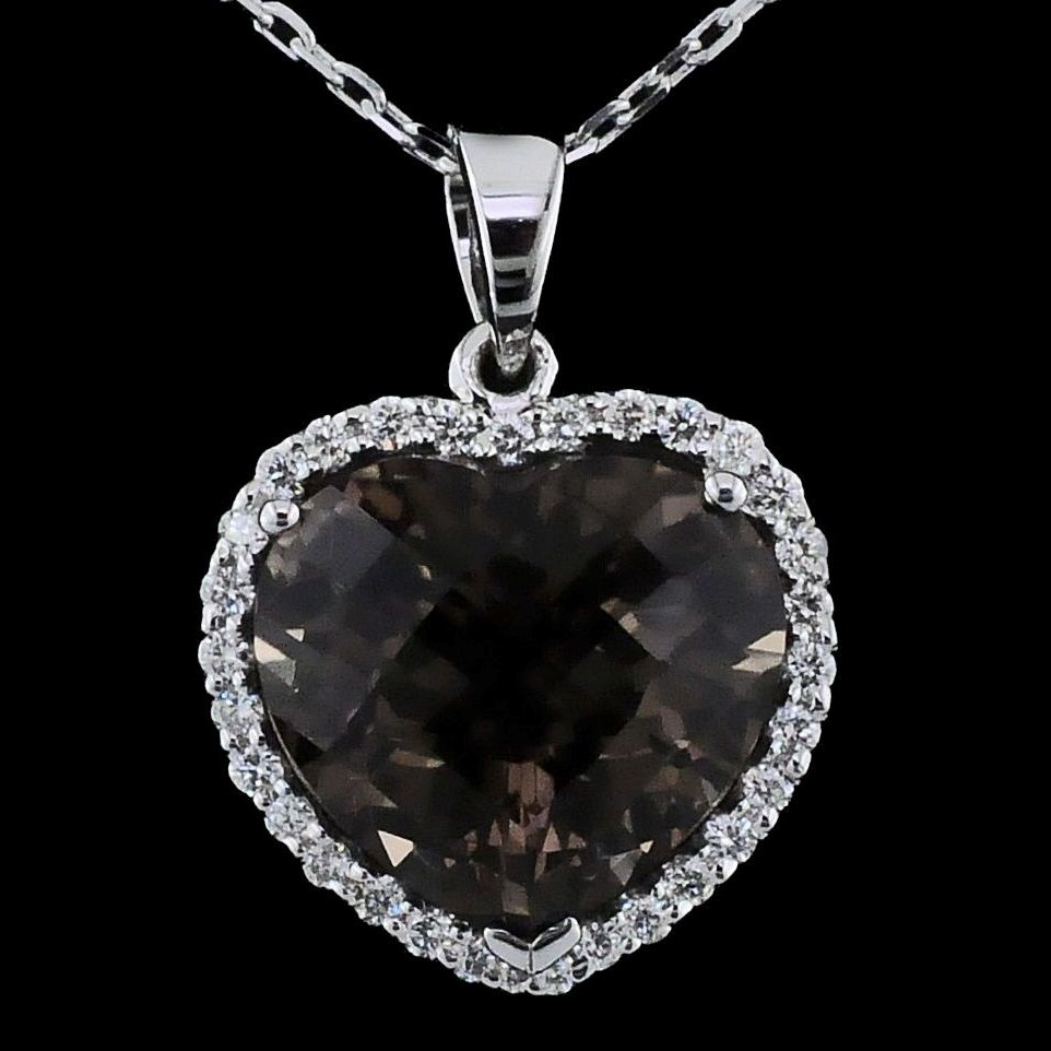 Alisa Unger Designs Heart Shaped Smokey Quartz and Diamond Pendant by Alisa Unger