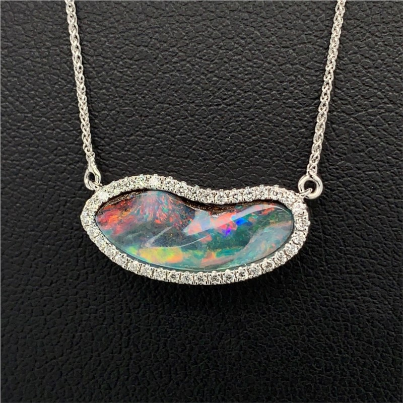 Australian Opal and Diamond Pendant by Parle