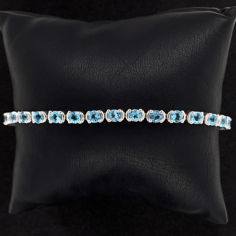 Blue Topaz and Sterling Silver Tennis Bracelet by Parle