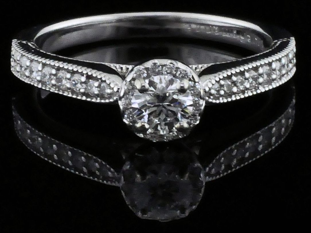 Hearts & Arrows Cut Diamond Engagement Ring by True Romance