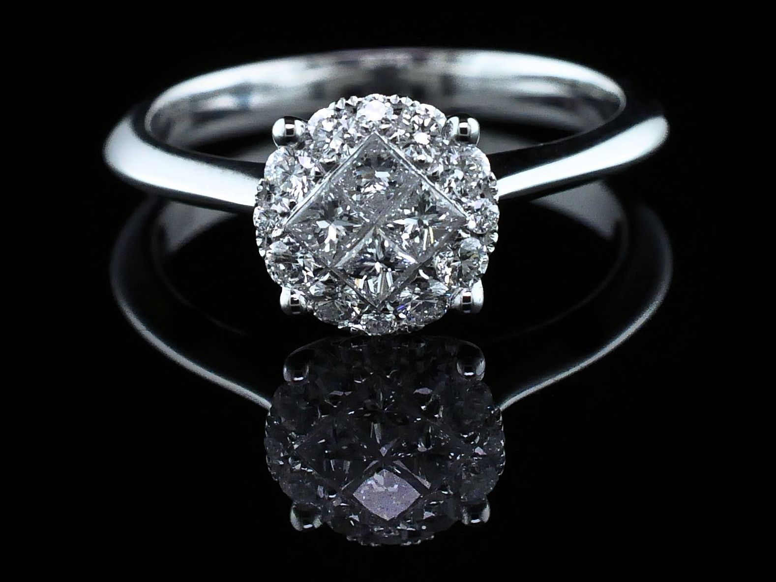 18K Diamond Cluster Engagement Ring by Signature Bridal Collection