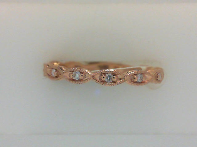 Gabriel Rose Gold and Diamond Wedding Band by Gabriel & Co