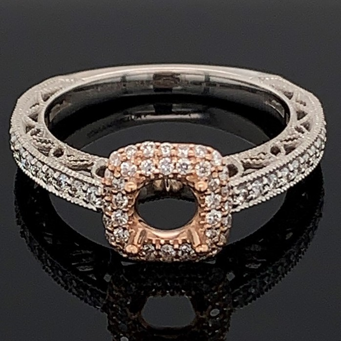 White and Rose Gold Diamond Semi Mount Engagement Ring by True Romance