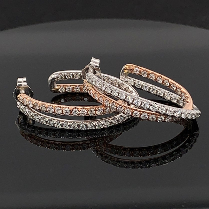 Rose and White Gold Diamond Inside Out Hoop Earrings by DeLeo