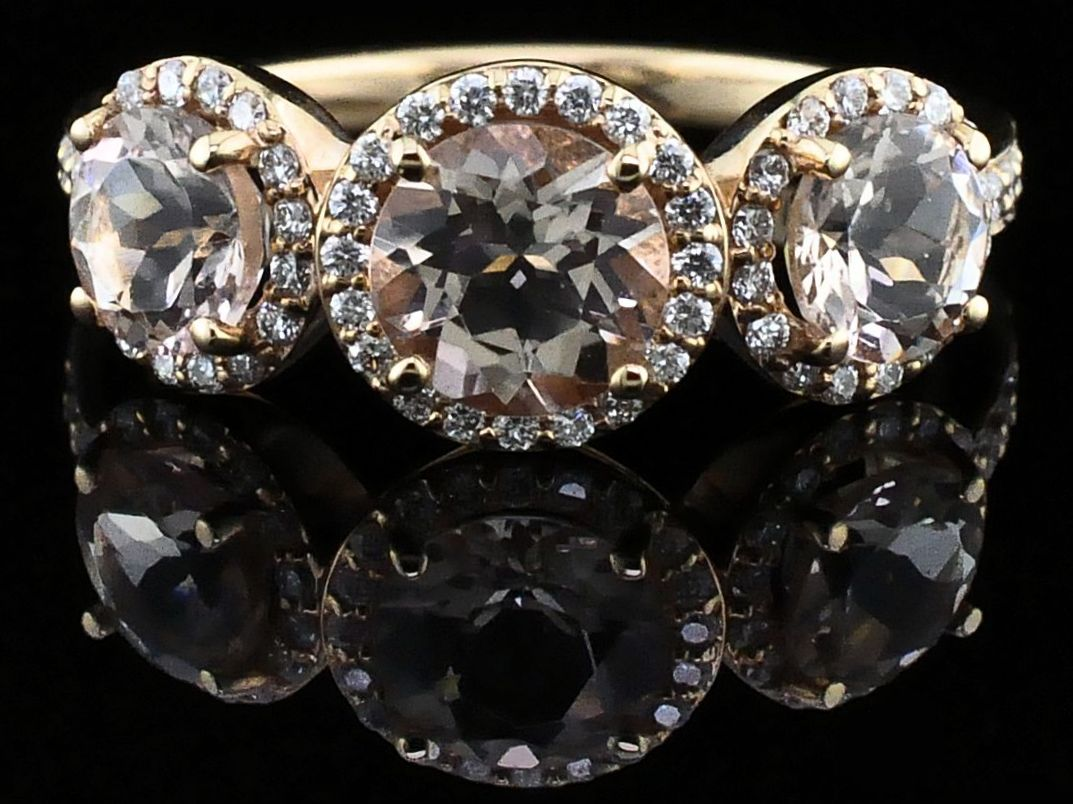 Ladies  Makur Morganite and Diamond Three Stone Ring by Makur