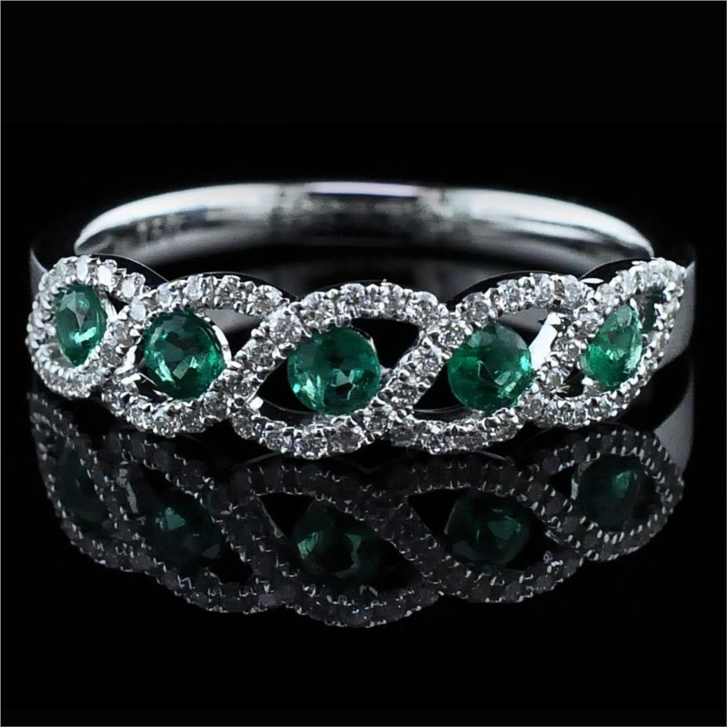 18K Emerald and Diamond Ring by Signature Bridal Collection