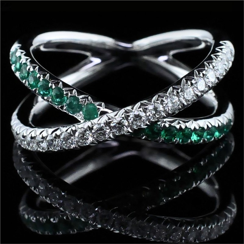 Ladies 18K Emerald and Diamond Ring by Signature Bridal Collection