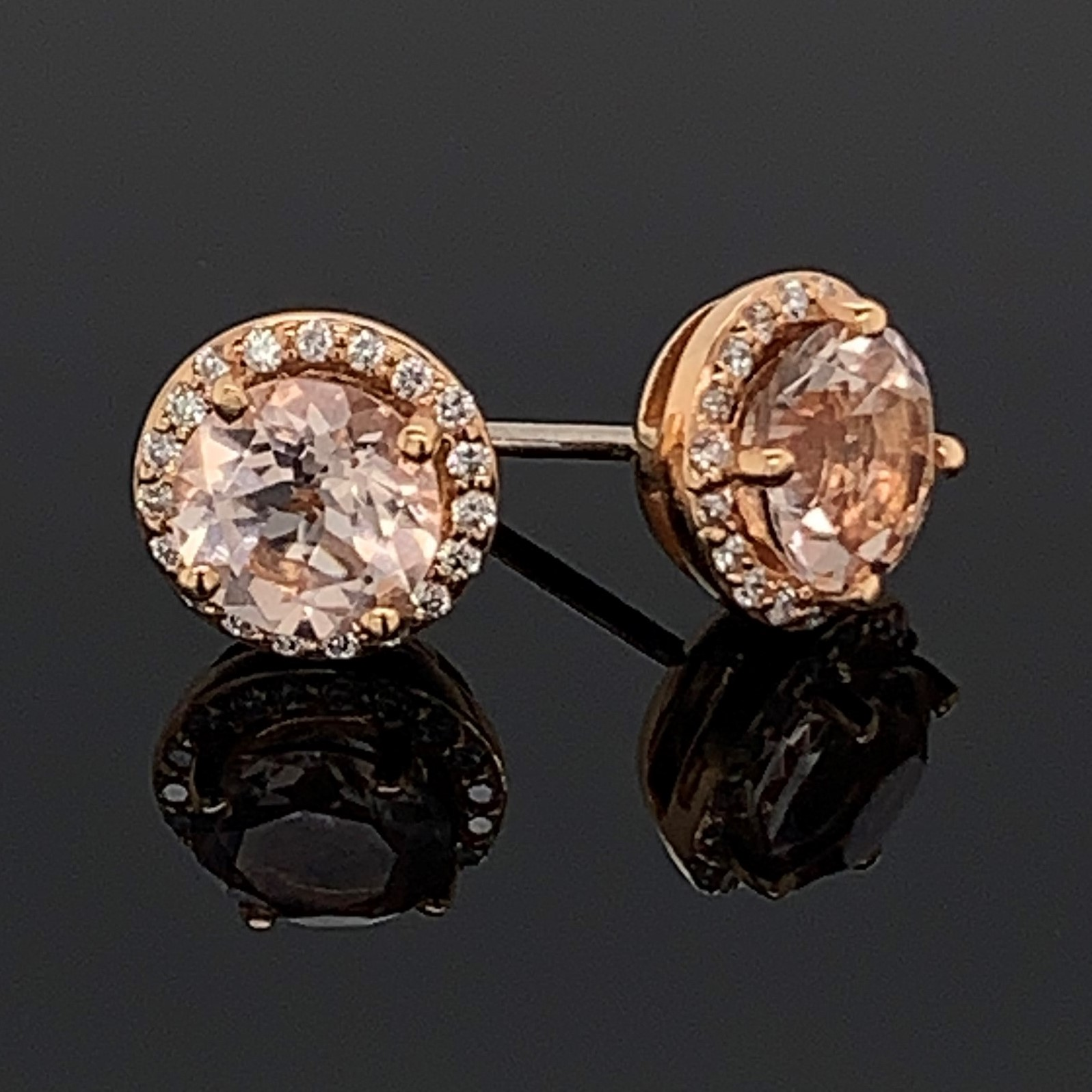 Makur Morganite and Diamond Halo Earrings by Makur