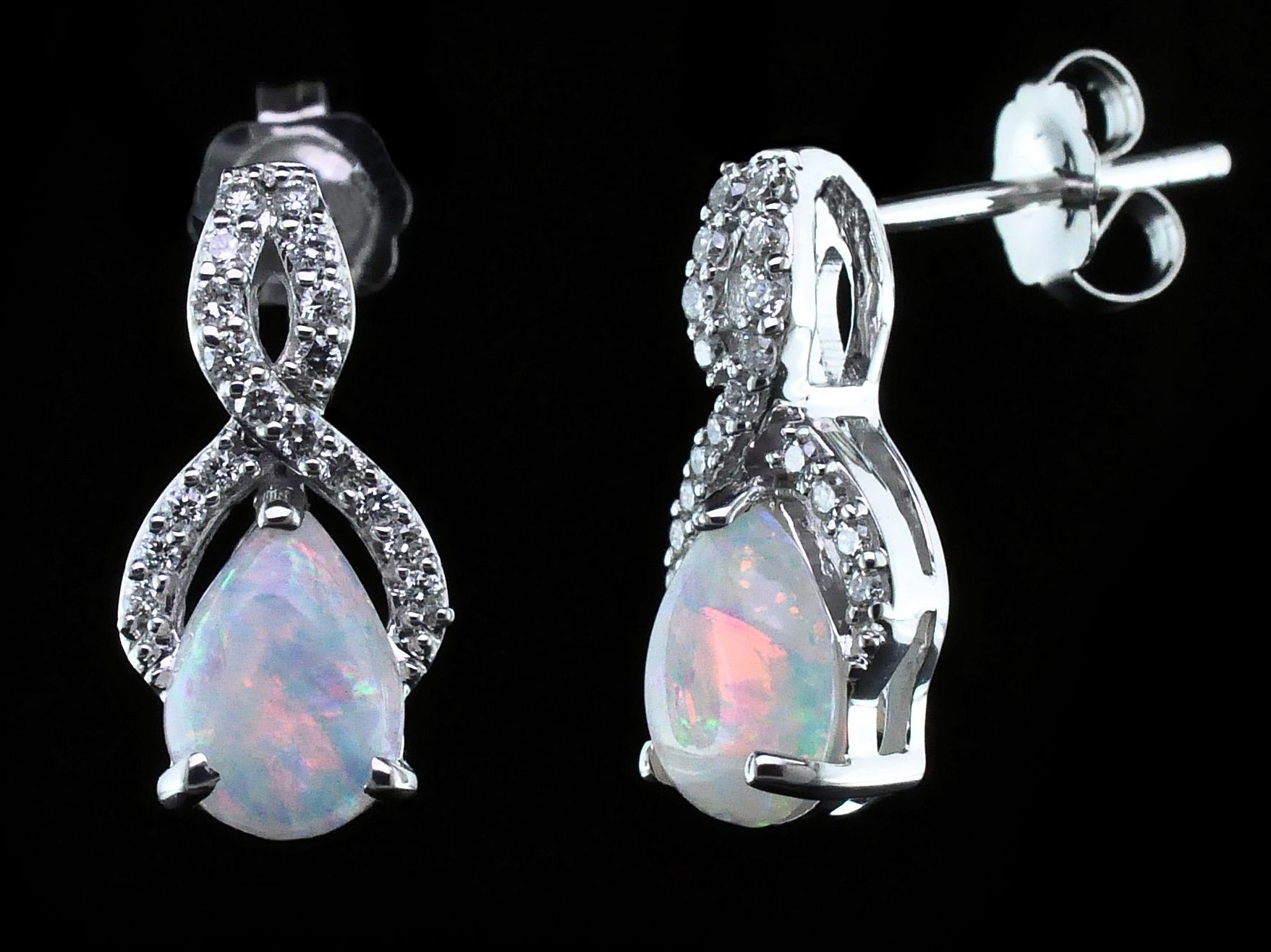 Australian Opal And Diamond Earrings by Parle