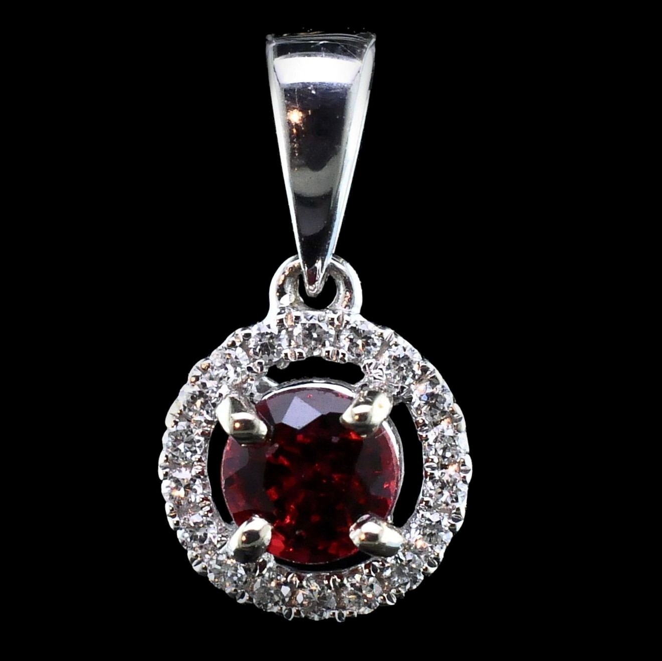 18K, Fire Ruby and Diamond Pendant by Fire 🔥 Ruby